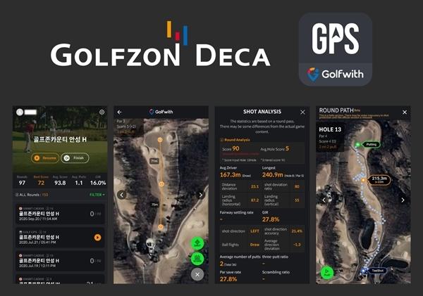 골프존의 거리측정기 제조사 골프존데카(대표이사 정주명)가 스마트폰용 골프 앱인 'Golfwith GOLF GPS, 이하 골프위드'의 대대적인 업데이트를 완료해 더욱더 다양한 서비스를 제공한다고 31일 밝혔다. 사진제공=골프존 데카
